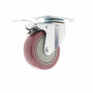 rueda industrial roja con freno